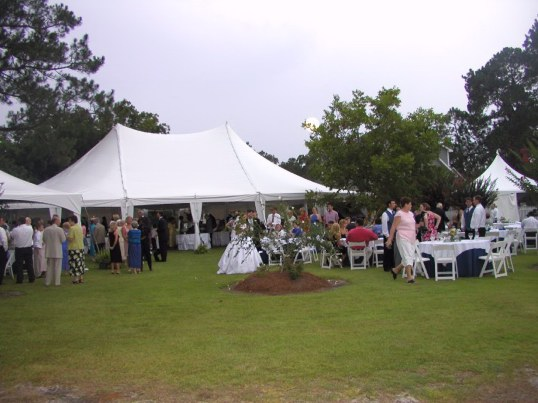 A typical home wedding would use a 40x60 tent. A dance floor and stage for a band or DJ. & Wedding